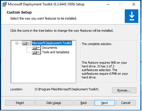 MDT Install - Component Selection